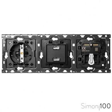 Kit back 3 elementos con 1 enchufe schuko 1 cargador 2xUSB 1 interruptor persianas IO y 1 cruzamiento pulsante Simon 100