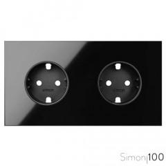 Kit front para 2 elementos con bases de enchufe schuko negro | Simon 100