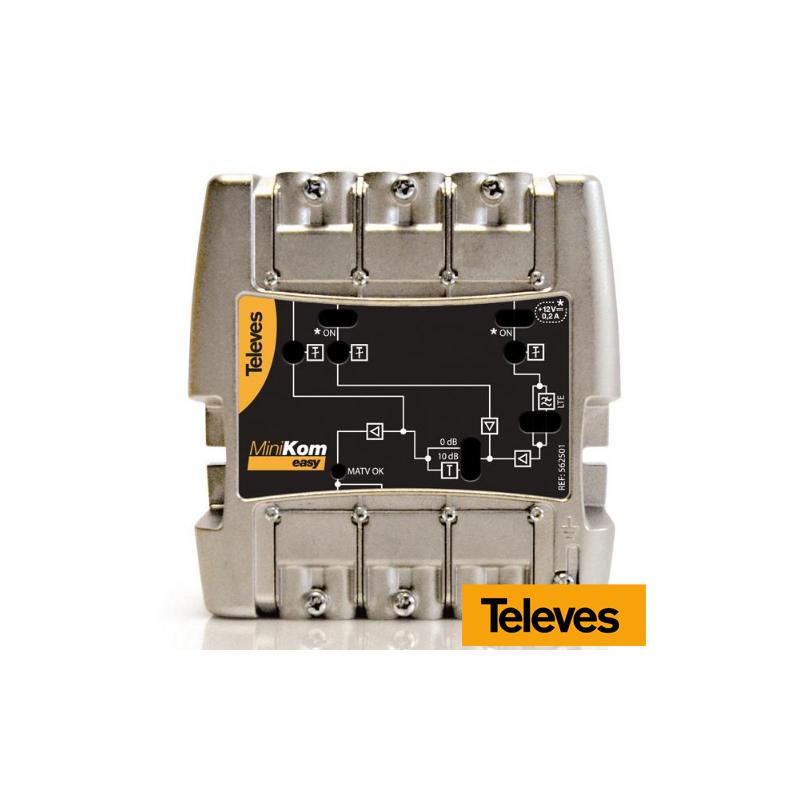 Central amplificadora Minikom 3e/1s FM-V-U Televés