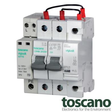 Protector contra sobretensiones permanentes y transitorias monofásico con reconexión automática COMBI 2PRT 40A