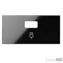 Tapa para 1 Conector USB Negro Simon 100