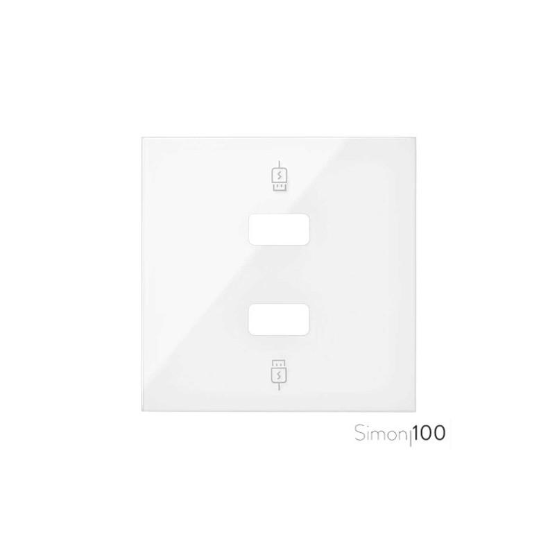 Tapa para Cargador USB 2 Conectores 5Vdc tipo A Blanco Simon 100