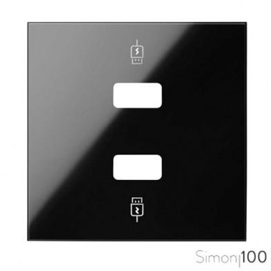 Tapa para Cargador USB 2 Conectores 5Vdc tipo A Negro Simon 100