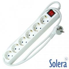Base Múltiple de 6 Tomas bipolar con interruptor luminoso y T/T lateral 16A 250V~ con prolongación de 1,5m