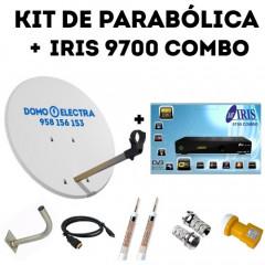Kit parabólica Receptor Iris 9700 HD Combo