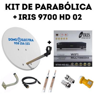 Kit parabólica Receptor Iris 9700 HD 02 + 15 metros de cable