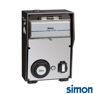 Caja IP44 Básica 2 tomas 1 schuko 3,6 kW 1 Modo 3 Tipo 2 Monofasica Trifasica 32 A 22 kW con RFID Mifare