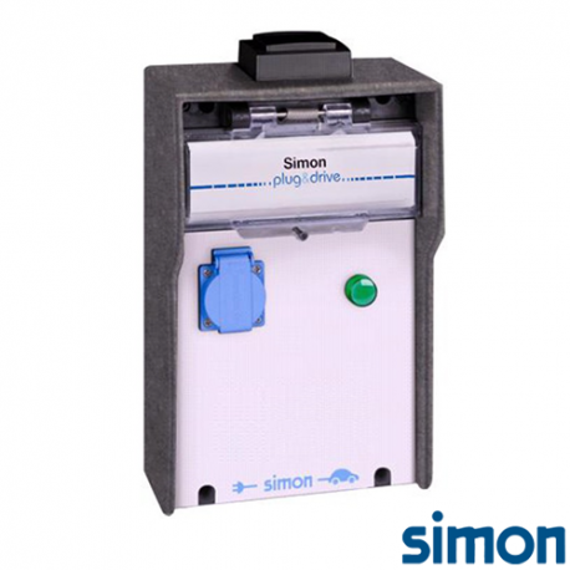 Caja IP44 Básica 1 Toma Schuko 3,6 kW con medición de energía por toma