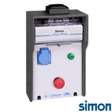 Caja IP44 Básica 1 Toma Schuko 3,6 kW con medición de energía por toma y paro de emergencia