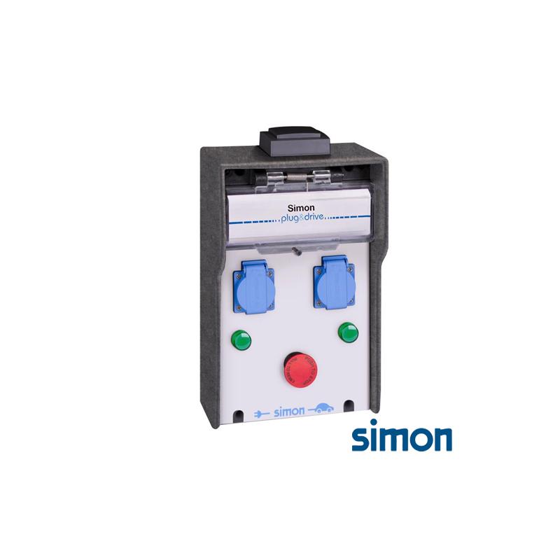 Caja IP44 Básica 2 Tomas Schuko 7,2 kW con medición de energíapor toma y paro de emergencia