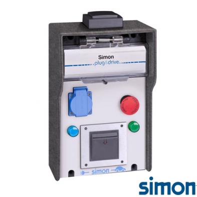 Caja IP44 Básica 1 Toma Schuko 3,6 kW con medición de energía por toma paro de emergencia y RFID Mifare