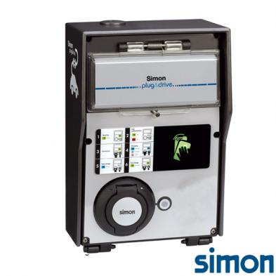 Caja IP44 Autónoma 1 Toma Modo 3 Tipo 2 Monofasico Trifasico 32A 22kW Medicion Energia RFID Mifare y Certificado