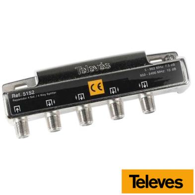 Repartidor 4 Salidas 5-2400 MHz 7,5/10 dB 5152 Televes
