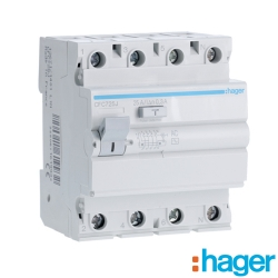 Interruptor Diferencial 4P 25A 300mA tipo AC Hager CFC725J