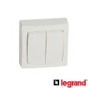 Doble Interruptor Conmutador + Placa Legrand Oteo 086020