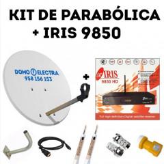 Kit Parabólica + Receptor Satélite Iris 9850 HD + 15 metros de cable