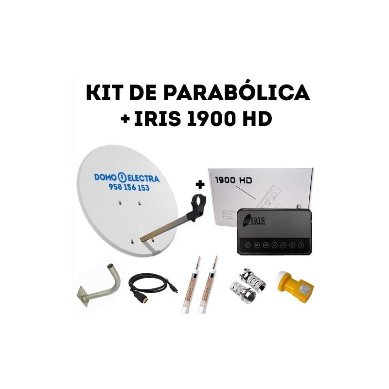 Kit Parabólica + Receptor Satélite Iris 1900 HD + 15 metros de cable