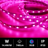 Tira LED 5M SMD5050 14.4W RGB IP20 24V