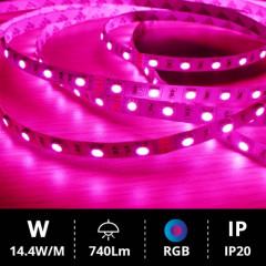 Tira LED 5M SMD5050 14.4W RGB IP20 24V