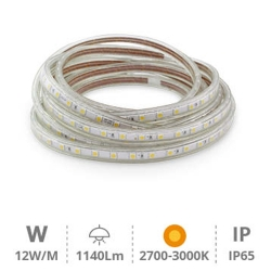 KIT 5 metros Tira LED 12W/M IP65 2700K-3000K