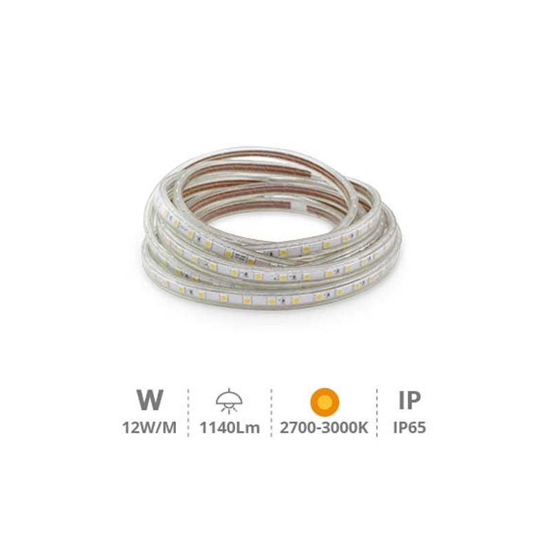 KIT 5 metros Tira LED 12W/M IP65 2700K-3000K