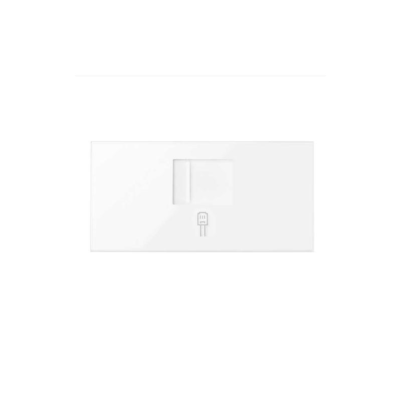 Tapa de voz y datos con guardapolvo para 1 conector RJ45 blanco brillante Simon 100