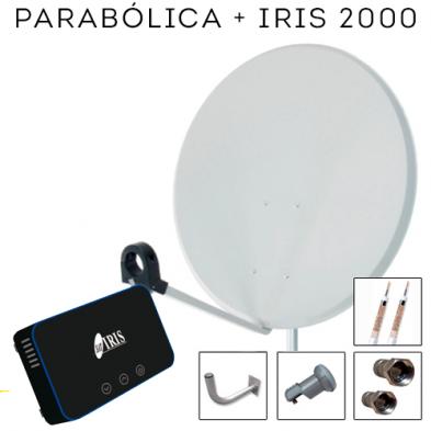 Kit Antena Parabólica + Receptor Satélite Iris 2000 HD + Cable
