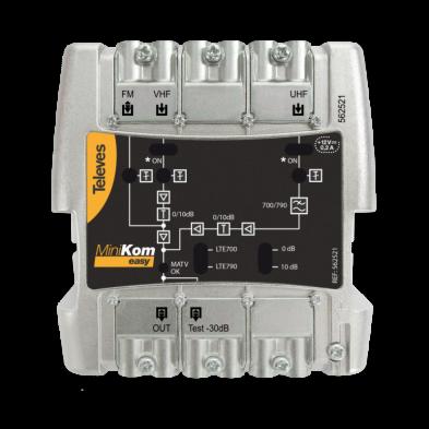 Central amplificadora Minikom EasyF 3e/1s FM-VHF-UHF Televés